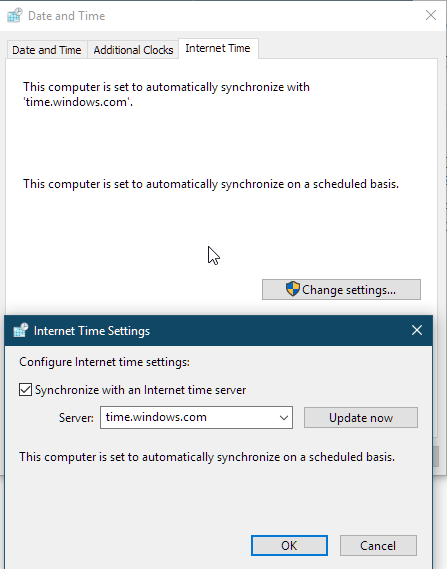 Windows Date and Time